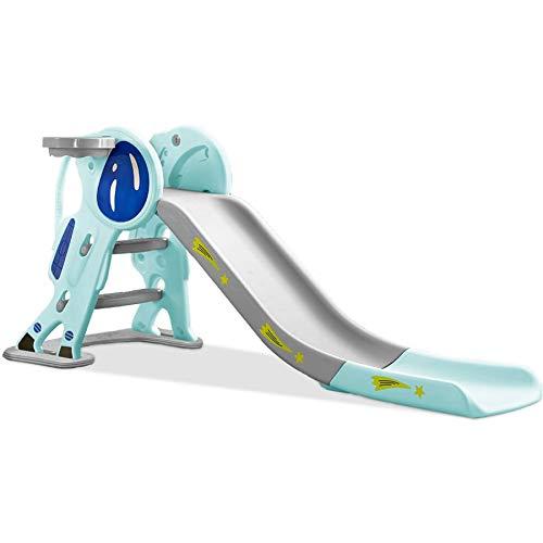 TikTakToo - Tobogán de astronauta para niños, plegable, con peldaños antideslizantes (azul claro)