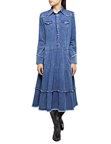 Replay Damen W9646 .000.160 694 Kleid, Blau (Medium Blue 9), Small (Herstellergröße: S)
