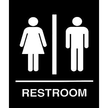 999Store Toilet Restroom Wall Sticker (Sunboard Vinyl PVC, 18 x 15 cm, Black)