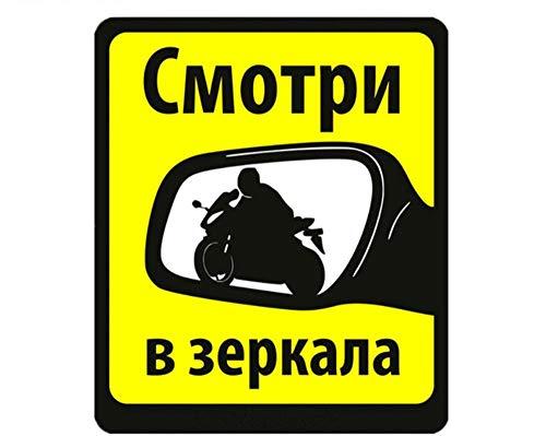 2 STUKS 12.7x15cm auto stickers Kijk in de spiegels voor biker motorrijder auto stickers auto styling