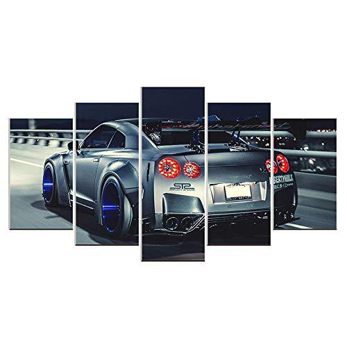 Karen Max Artowrk Wandbild für Wohnzimmer, Motiv: Nissan GTR R35, 5 Stück Size2:12x16inchx2,12x24inchx2,12x32inchx1 No Frame