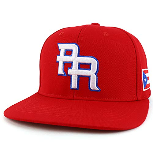 Trendy Apparel Shop PR 3D Embroidered Flatbill Snapback Cap with Puerto Rico Flag