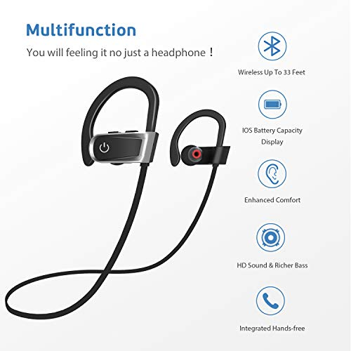 Bluetooth Headphones,ZamKol Wireless Sports Earphones,Stereo in-Ear Earbuds with mic,IPX7 Waterproof,Noise Cancelling Headsets for Running,Cycling,6-8 Hours Play Time