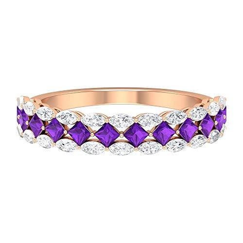 1,26 CT HI-SI Anillo de diamante y amatista, banda de eternidad de oro (amatista de talla princesa de 2 mm), 14K Oro rosa, Size:EU 53