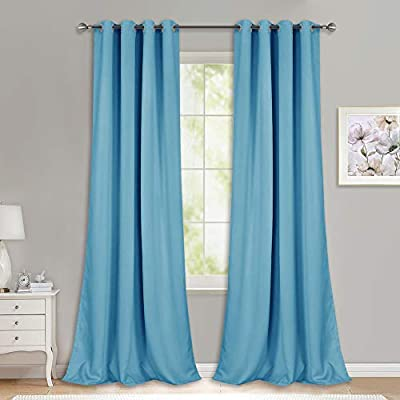 NICETOWN Room Darkening Curtain Panels - (52 inches W x 108 inches L, Teal Blue, 2 Panels) Toddler Boy Bedroom Drapes with Grommet Top, Energy Smart Window Treatment Curtains