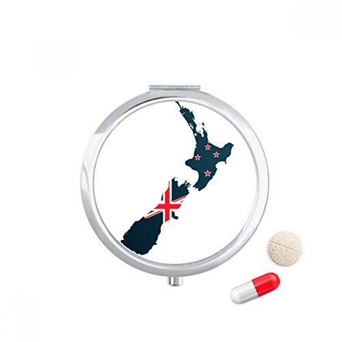DIYthinker The Flag Island Country Map Nieuw-Zeeland Travel Pocket Pill case Medicine Drug Storage Box Dispenser Mirror Gift