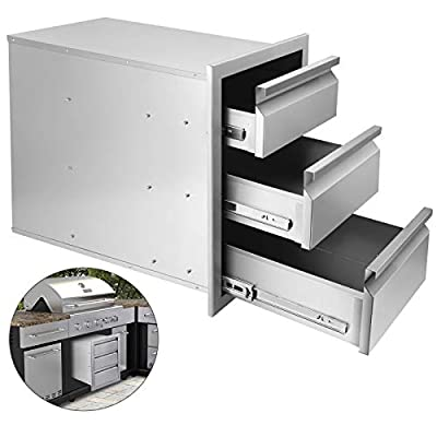 Seeutek Outdoor Kitchen Drawer Stainless Steel 20.2 x 23.2X 13.9 inch Flush Mount Barbecue Drawers Triple Layer Access Storage Drawers for Outdoor Kitchen or BBQ Island Patio Grill Station