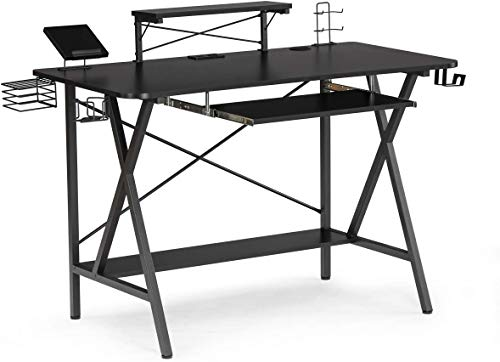 """Binrrio 47"""" Computer Desk with Keyboard Tray, Gaming Desk Table, Gaming Workstation with PC Stand/Power Strip with USB/Cup Holder/Headphone Hook Home Office Desk Gamer Desk Writing Table, Black"""