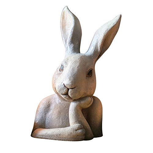 OMING Estatuas La Escultura Animal de Busto está Pensando en un Problema, Estatua de Conejo, Adornos Grandes, jardín, jardín, decoración Creativa, Regalos adecuados. Adornos Decorativos