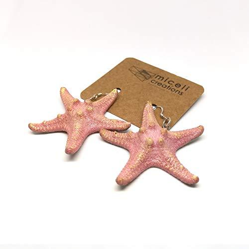 Orecchini pendenti a forma di stella marina in resina Micelicreations con ganci in argento 925. Regalo di compleanno, festa della mamma, anniversario, regalo di Natale.