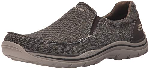 Skechers mens Expected - Avillo Oxford, Brown Canvas, 9.5 US