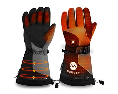 Heated Gloves for Men Women - New for 2020 - Electric Gloves with 4 Rechargeable Batteries, Ski Gloves, Heated Motorcycle Gloves and Snow Gloves, Works Over 16 Hours