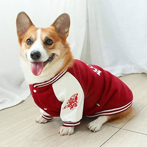 QKEMM Abrigo Perro Chaqueta Perro Invierno Ropa Botones para Perro Pequeño y Mediano Rojo XXXL