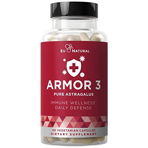 Armor 3 Astragalus Pure 1000 MG – Healthy Immune System Function, Stress Support, Potent Strength for Seasonal Protection – Full-Spectrum & Standardized – 60 Vegetarian Soft Capsules