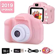 EMISK Kids Digital Camera for Girls Age 3-10, Toddler Cameras Mini Cartoon Rechargeable Video Camera with 2 Inch IPS Screen and 32GB SD Card Child Camcorder Toy Gift for Kid's Birthday
