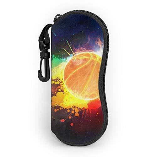 Gafas de sol suave estuche ligero portátil impreso en 3D Baloncesto fuego garabateando de colores con cremallera caja con mosquetón para hombre y mujer