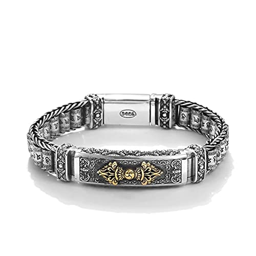 ZiFei Buddhism Seis Word Pulsera Giratoria para Hombres Solid 925 Sterling Silver Vintage Buddha Jewelry,20cm