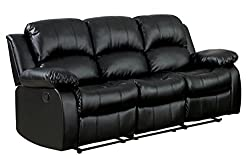 Homelegance Double Reclining Sofa with Black Bonded Leather