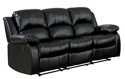 Homelegance Resonance 83' Bonded Leather Double Reclining Sofa, Black