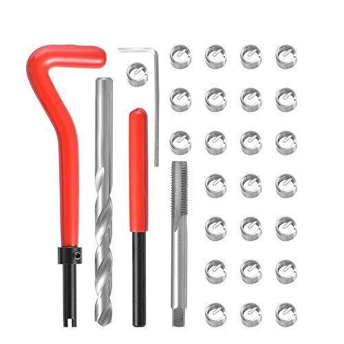 VISLONE Juego de Reparación de Roscas, 30 Piezas M3 M4 M7 M9 M11Kits de Reparación de Roscas Helicoil Kits para Reparación de Roscas para Automóvil