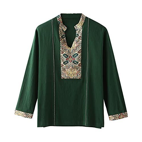 Blusa de manga larga para hombre, con estampado retro, cuello alto, estilo oriental, manga completa verde L