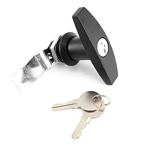 EBTOOLS T handtagslås, bakre fästning T handtag lås verktygslåda garagedörrlås med nycklar för släpvagn husvagnshjul (svart)