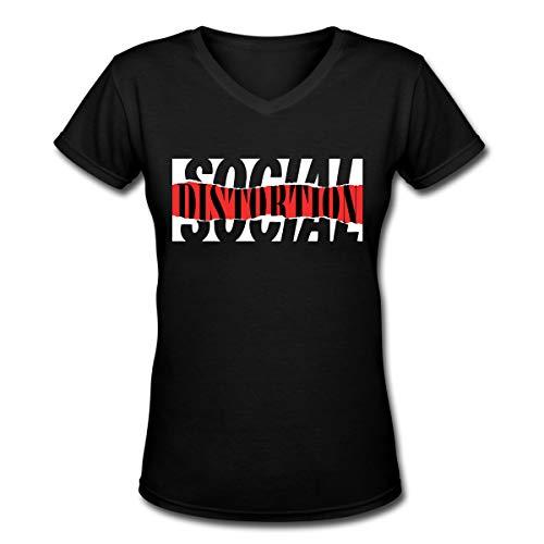 Apparel Frauen T-Shirt mit V-Ausschnitt Lässige Social Distortion Bedrucktes Kurzarm-T-Shirt Oberteile Trendy