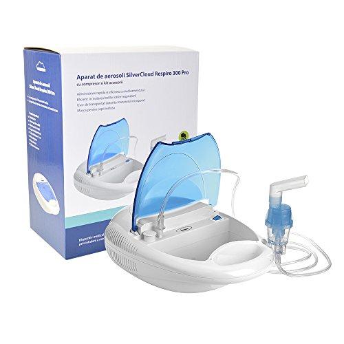 Silvercloud Respiro 300 Pro Vernevelaar voor kinderen en volwassenen, met compressor, luchtslang, mondstuk, neusschimmel, vernevelaar en twee maskers