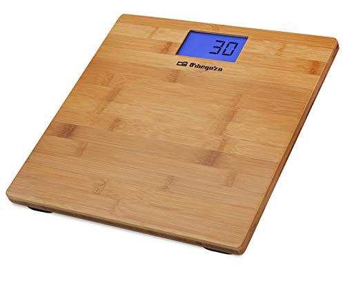 Orbegozo PB 2330 - Báscula de baño, pantalla LCD, superficie de bambú, activación táctil, indicador de sobrecarga, 150 kg máximo