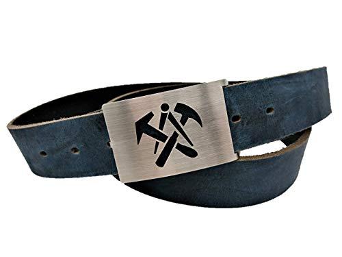 Gürtel Dachdecker - Handmade 38mm Ledergürtel - Gürtelschnalle aus Edelstahl - Die Geschenkidee für Handwerk und Zunft - Geschenk - braun - schwarz - grau - blau