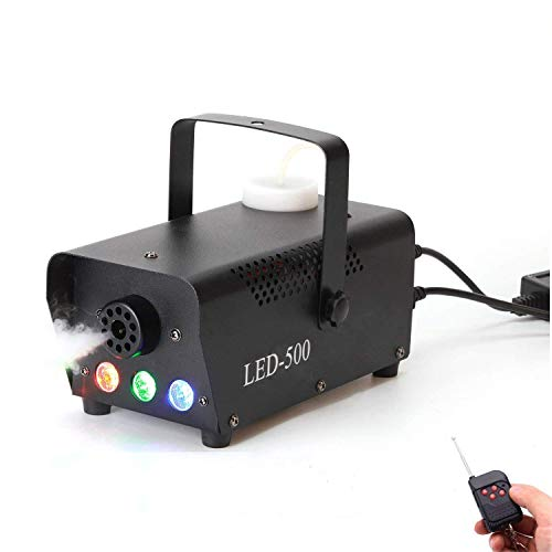 Nebelmaschine,500W Mini Nebelmaschine mit Led und Drahtlose Fernbedienung f¨¹r Halloween Hochzeit Theater Party Disco Club DJ Lichteffekt