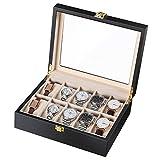 CRITIRON Uhrenbox aus Holz für 10 Uhren Aufbewahrung Uhrenkoffer Uhrenkasten mit Hochtransparentes Glas Goldenes Schloss Uhrenvitrine Schmuckkästchen Schwarz