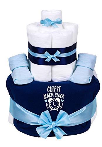 TrendMama Windeltorte hellblau-blau Junge Babysocken und cool bedrucktes Lätzchen -Cutest Alarm Clock-