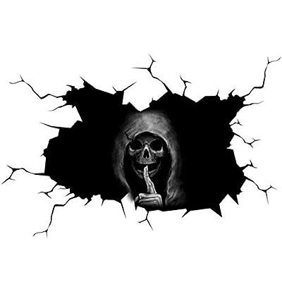 Halloween car stickers,Happy Halloween Silent Skull Sticker Window Home Decoration Decal Decor for Car Bumper Windshield Sticker Waterproof Wiper Vinyl Decal for Wipers Decor (11.8X15.8 Inch)