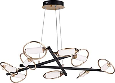 "ET2 E23279-93BKSFTG Flare Opal White Acrylic Tube in the Ring LED Pendant, 9-Light 45.4 Total Watts, 4""H x 44""W x 43""L, Black/Soft Gold"