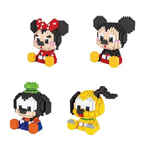 BBHH Mini Bloques De Construcción para Niños Mickey Mouse Goofy Plutón Minnie Anime Figuras Juguetes para Niños 410Pcs +