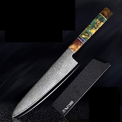 Cuchillos Cocina del cuchillo del cocinero de alta calidad japonesa VG10 Damasco de acero octogonal Estable mango de madera Cuchillo Cleaver cocina la herramienta (Color : Chef knife)