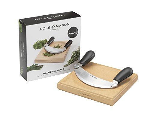 Cole & Mason H105549 Hachoir à herbes avec planche en bois, lame en acier inoxydable avec poignées en plastique amovibles, 22 x 22 x 7 cm
