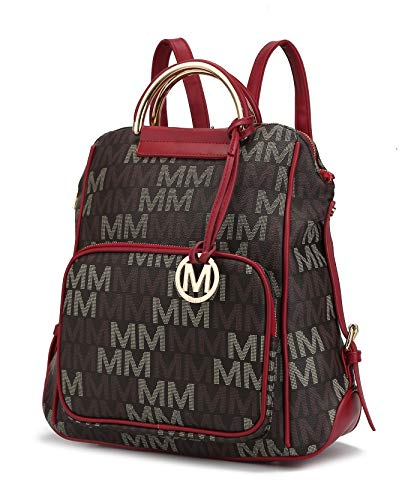 Mia K Collection PU Leather Backpack Purse for Women & Teen Girls - Ladies Fashion Travel - Big Bookbag Top-Handle Red