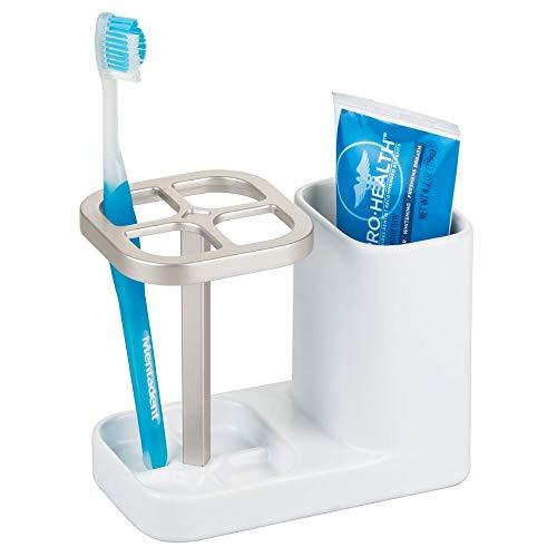 mDesign Tandenborstelhouder gemaakt van keramische badkameropslag voor de wastafel of badkamerkast - ideale badkameraccessoires - wit