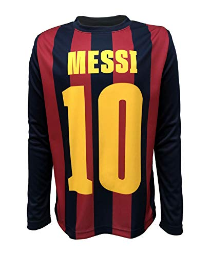 Official FC Barcelona Junior Boys Long Sleeve Top (Navy, X-Large)