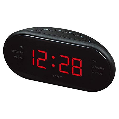 CMXSC Conducido Radio Reloj con Am y FM de Alarma de Doble Canal, Reloj Despertador (Size : Red)