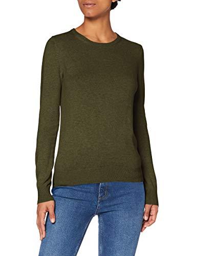 Amazon-Marke: MERAKI Baumwoll-Pullover Damen mit Rundhals, Grün (Khaki), 34, Label: XS