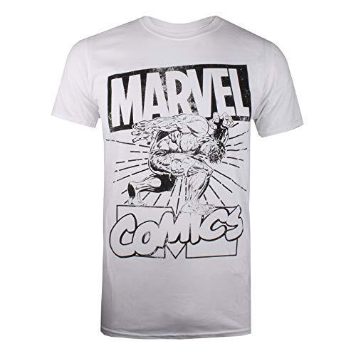 Marvel Herren Hulk Lift T-Shirt, Weiß (White White), (Herstellergröße: MEDIUM)