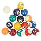 Billiard Balls Set,16PCS Eco‑Friendly 38MM Resin Children Billiard Ball Toy Mini Pool Table Accesssory Pool Table Balls for Replacement Pool Table Triangle Ball Rack Pool Table Accessories
