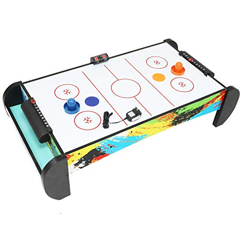 Air Hockey Table for Kids and Adults, Compact-Size, Completed Air Hockey Table Top Accessories Plug-in Powered Air Hockey Set 2 Pucks+2 Paddles+Led Score Board+Electric Motor Fan+Blowers for Game Room