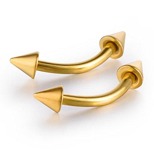 Feilok 2 Stücke Hufeisen Edelstahl Ohr Kegeln Piercing Schmuck Helix Tragus Augenbraueförmige Banane Spitze Spike Ohrringe Bananabell, Gold