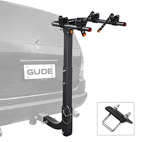 GUDE 2 Bike Rack for Car Hitch Mount 2'' Hitch Receiver Heavy Duty Bicycle Carrier Rack Hitch Swing Rack Hanging Double Folding for Cars, SUVs, Vans, Minivans