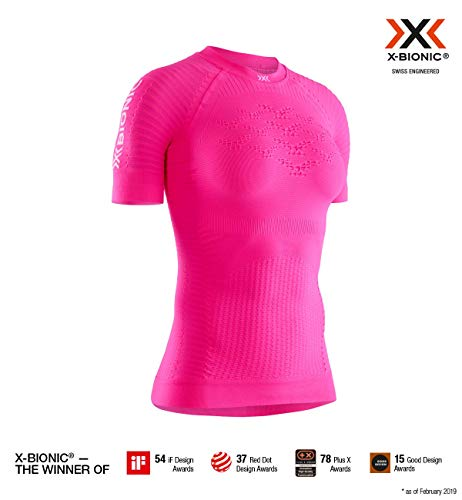 X-Bionic Effektor 4.0 Run Chemise Femme, Neon Flamingo/Namib Red, FR : L (Taille Fabricant : L)