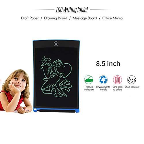 Gains Tablette d'écriture LCD 21,6 cm, Doodle Planche à dessin avec bouton d'Effacement et stylet, frigo Message Board Loquet Tableau blanc Tableau noir pour la maison d'école, PVC, bleu, 8.5inch